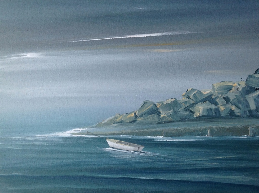 Waiting for the Scallop Boat, Loguivy de la Mer Ref 5/14 image size 60cm x 46 cm