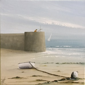White Dinghy and Fisherman - Watchtower Bay, Barry 25x25 ref 28 17