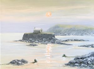 EVENING CALM PORTH CWYFAN 60X46 REF 93 17