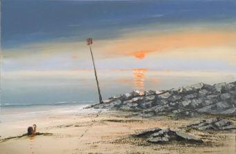 SUNSET OVER SIDMOUTH BEACH REF 116 18 76CM X 50CM