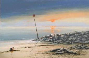 SUNSET OVER SIDMOUTH BEACH REF 116 18 76CM X 50CM