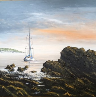 OVERNIGHT MOORING PORT EYNON GOWER REF 8 19 100cm x 100cm