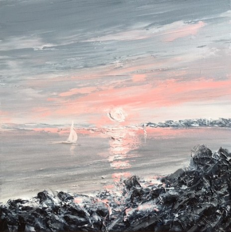 LOOKING WEST FROM SULLY ON THE BRISTOL CHANNEL INTO THE SUN REF 3 19 40CM X 40CM