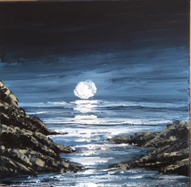 A BRIGHT MOON ON THE GOWER COAST REF 16 19 26X26