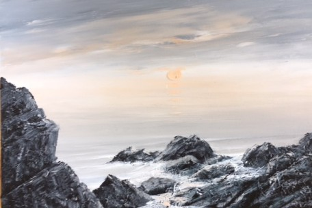 EVENING, THE ROCKS AT CASWELL BAY GOWER REF 18 19 76X50