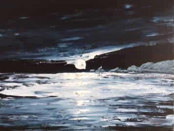 MUMBLES LIGHTHOUSE IN THE MOONLIGHT REF 14 19 40X30