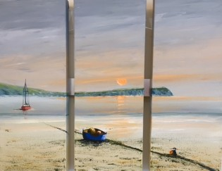 DINAS HEAD FROM NEWPORT PEMBS 7PM TRIPTYCH REF 31 19 EACH CANVAS 20X50