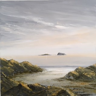 EVENING LIGHT ON THE ROCKS AHEAD OF THE HOLMS, BRISTOL CHANNEL REF 30 19 50X50