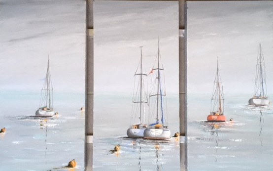 A HEAVY MIST OVER DALE TRIPTYCH REF 47 10 EACH CANVAS 30X60