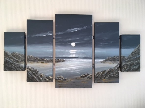 MOONLIGHT FROM OGMORE quintych REF 46 19 110cmx60cm at its widest