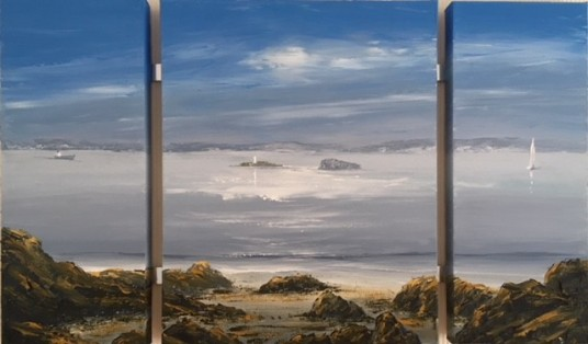 MORNING LOOKING AT THE HOLMS TRIPTYCH REF 53 19 OVERALL SIZE 85 X 50
